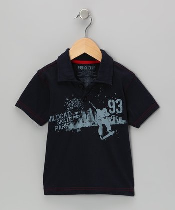 Navy 'Wildcat Park' Polo - Boys