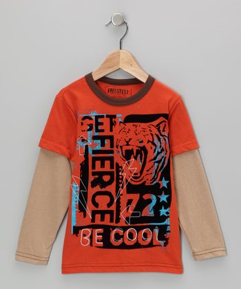 Orange 'Be Cool' Layered Tee - Toddler & Boys