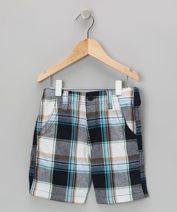 Navy Plaid Shorts - Boys