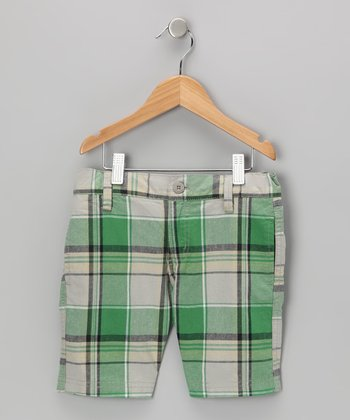 Green Plaid Shorts - Boys
