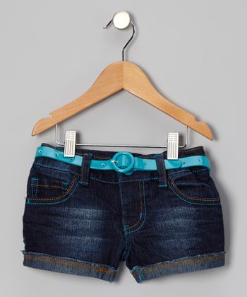 Blue Rhinestone Embroidered Belted Shorts - Girls