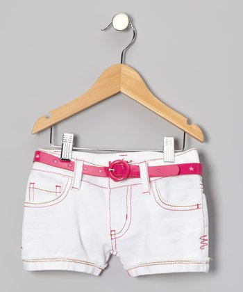 White & Pink Embroidered Belted Shorts - Girls