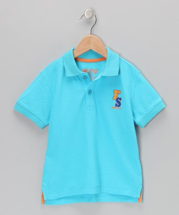Blue & Orange Contrast Polo - Boys