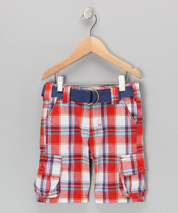 Red Plaid Shorts - Boys