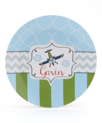 Blue & Green Airplane Personalized Plate