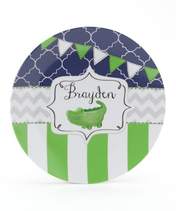 Navy & Green Alligator Personalized Plate