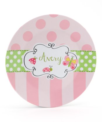 Pink & Green Bug Personalized Plate