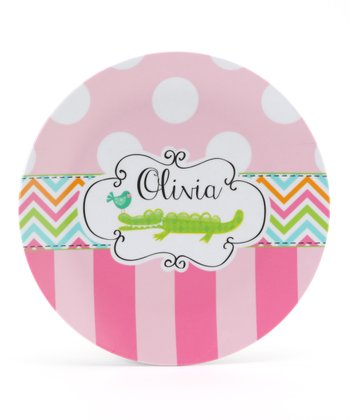 Pink Crocodile Personalized Plate