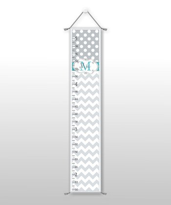 Teal Zigzag & Polka Dot Personalized Growth Chart