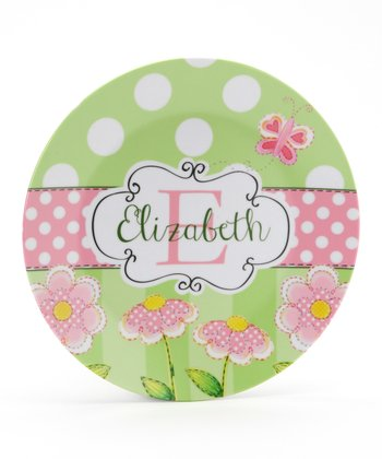 Green & Pink Daisy Personalized Plate