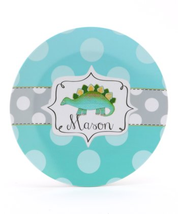 Aqua & Green Dinosaur Personalized Plate
