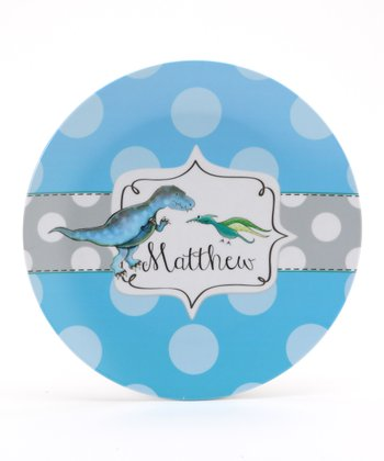 Blue & Green Dinosaur Personalized Plate