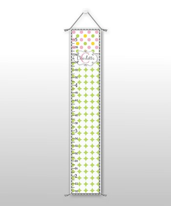 Pink & Yellow Disco Dot Personalized Growth Chart