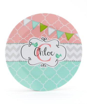 Aqua & Pink Flag Personalized Plate