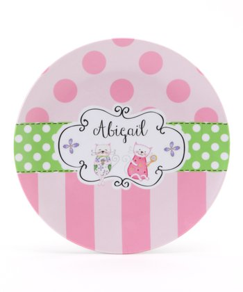 Pink & Green Kitty Personalized Plate