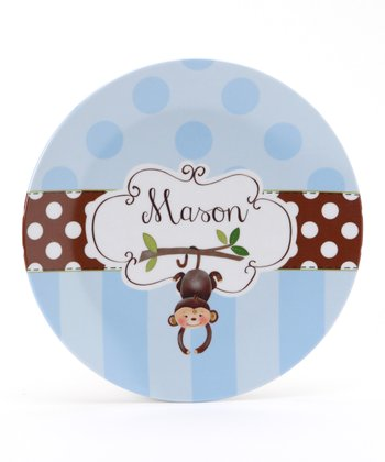 Blue & Brown Monkey Personalized Plate