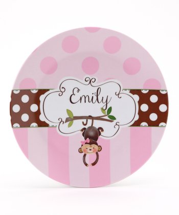 Pink & Brown Monkey Personalized Plate