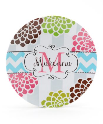 Lime & Pink Mum Personalized Plate