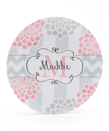 Pink & Gray Mum Personalized Plate