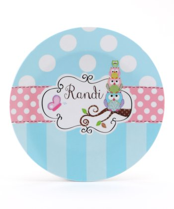 Blue & Pink Stacked Owl Personalized Plate