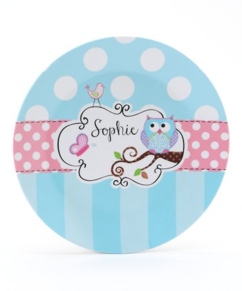 Blue & Pink Owl Personalized Plate