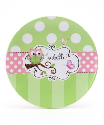 Green & Pink Owl Personalized Plate