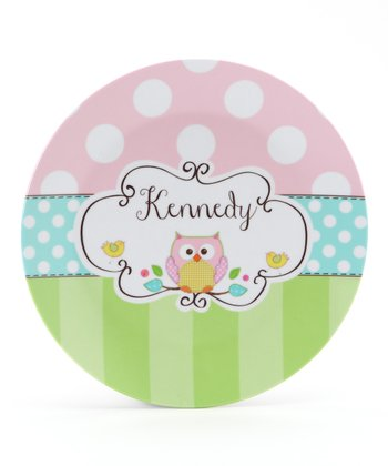 Pink, Green & Aqua Owl Personalized Plate