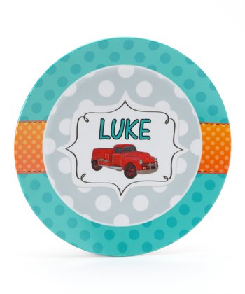 Teal Retro Fire Truck Personalized Plate
