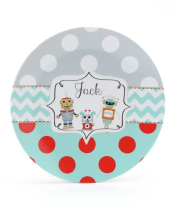 Aqua & Gray Robot Personalized Plate