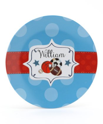 Blue & Red Sports Personalized Plate