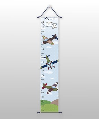 Vintage Airplane Personalized Growth Chart