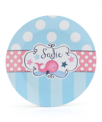 Blue & Pink Whale Personalized Plate