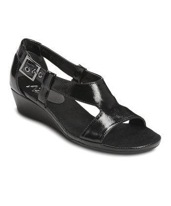 Black Patent Crown Chewls Wedge Sandal