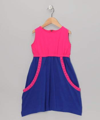 Pink & Blue Slouchy Pocket Dress - Toddler & Girls
