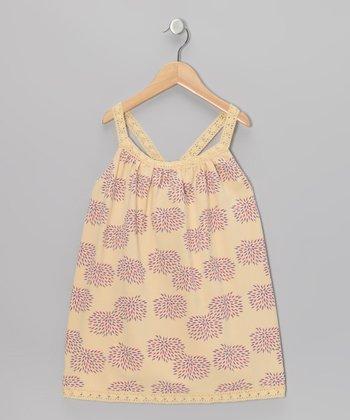Yellow Floral Racerback Dress - Girls