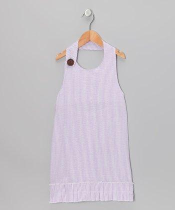 Lavender Seersucker Beach Halter Dress - Girls