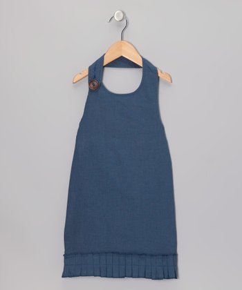 Navy Beach Linen Halter Dress - Toddler & Girls