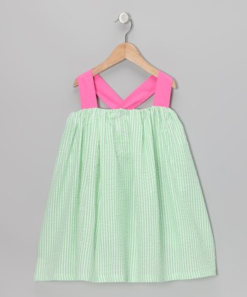 Green Seersucker Bow Swing Dress - Toddler & Girls
