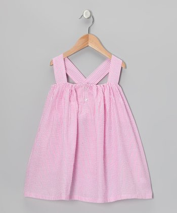 Pink Seersucker Bow Swing Dress - Girls