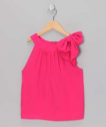 Hot Pink Bow Yoke Top - Toddler & Girls
