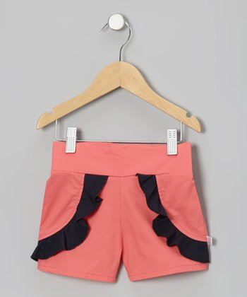 Coral & Navy Ruffle Shorts - Toddler & Girls