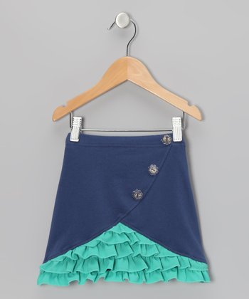 Navy & Green Ruffle Skirt - Toddler & Girls
