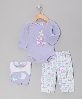 Purple Elephant Bodysuit Set - Infant