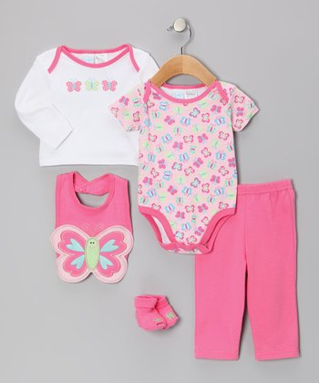 Pink Butterfly Bodysuit Set - Infant