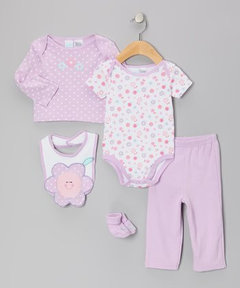Purple Flower Bodysuit Set - Infant