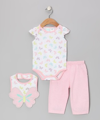 Light Pink Butterfly Bodysuit Set - Infant