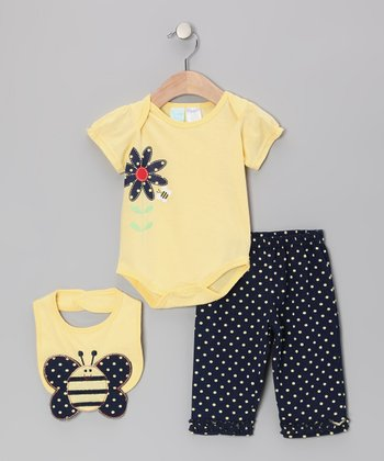 Yellow Flower Bodysuit Set - Infant
