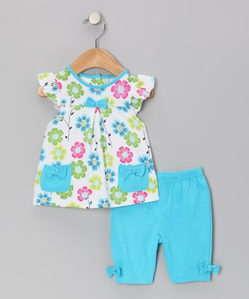 Turquoise Flower Tunic & Leggings