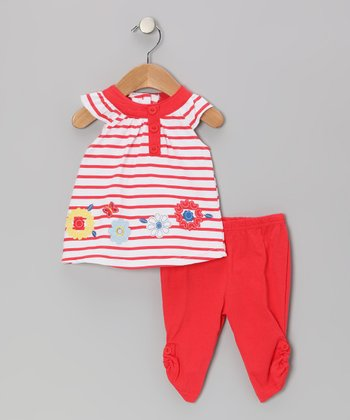 Red Stripe Flower Tunic & Leggings - Infant