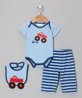 Blue Truck Bodysuit Set - Infant